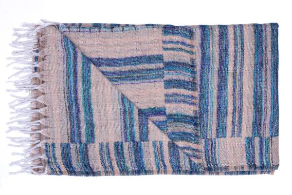 Plaid Beige met blauwe strepen